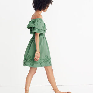 Madewell Appliquéd Off the Shoulder Green Dress